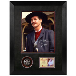 Val Kilmer Autographed Tombstone Doc Holliday 8x10 Photo And Deputy Badge Display