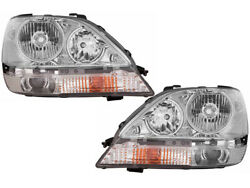 Headlights Headlamps Replacement For 2001 - 2003 Rx300 Chrome Xenon Hid Set