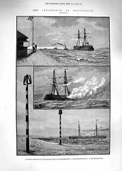 Original Old Antique Print 1881 Ship Inflexible Portsmouth Gilkicker Compasses
