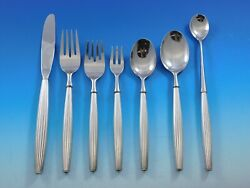 Jade With Lines By Contempra House Sterling Silver Flatware Set Service 55 Pcs