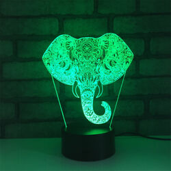 Elephant Nose 3d Illusion Led Lamp Touch Switch Table Desk Night Light Kids Gif