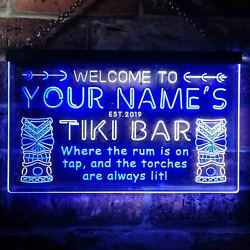 Personalized Name Est Year Tiki Bar Home Pub Dual Color Led Neon Sign St6-pm1-tm
