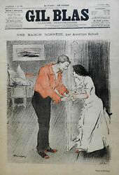 Steinlen Woman At The Door 1894 French Color Poster Art Style Prints Gil Blas