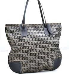 Authentic FENDI Zucchino Shoulder Tote Bag Canvas Leather Navy A0601 $212.80