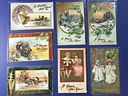 Set 7 New Years Antique Postcards, Tuck Publ. Series 139. For Collectors W Value