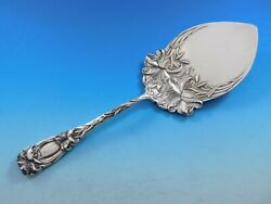 New Art By Durgin Sterling Silver Pie Server With Lilies 10 1/2 Vintage Floral