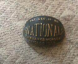 Very Rare Solid Brass 1888 National Fire Hydrant Plaque