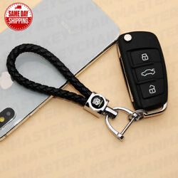 Black Weave Calf Leather Transformers Logo Car Key Chain Ring Gift Decoration