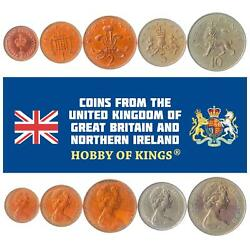 Set Of 5 Coins From United Kingdom 1/2, 1, 2, 5, 10 New Pence. 1968-1981