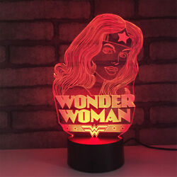 Wonder Woman 3d Illusion Led Lamp Touch Switch Table Desk Night Light Kids Gif