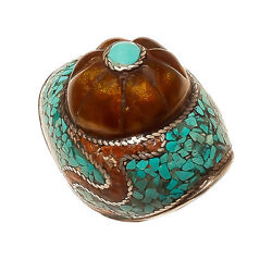 925 Sterling Silver Turquoise Mosaic Beautiful Ring India Vintage Jewelry