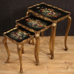 Triptych Coffee Tables Furniture In Painted Gold Wood Antique Style Living Room