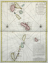 Small Antilles Original Copperplate Map Covens Mortier 1730