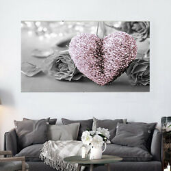 Heart Rose Canvas Wall Art Painting Pictures Home Room Office Living Room Decor