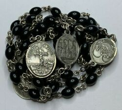Anddagger Very Scarce Vintage Creed Sterling Seven Sorrows Black Rosary Chaplet 34 1/2anddagger