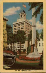 TampaFL City Hall Hillsborough County Florida Tampa Novelty Co. Linen Postcard