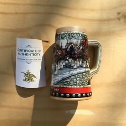 Vintage 1988 Budweiser Holiday Stein Collection Hand Crafted Beer Mug Brazil