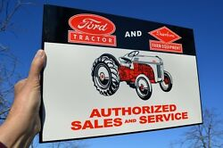 Old Style Ford Tractor Dearborn Farm Equipment Sales Steel Flange Sign Usa Made