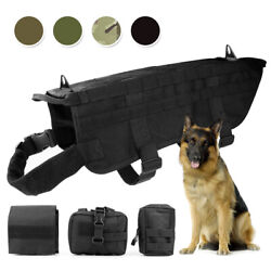 Tactical Dog Vest K9 Molle Military Harness 3 Pouch Bags Adjustable Nylon Vest