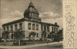 1907 JacksonvilleFL City Hall Duval County Florida Antique Postcard 1c stamp