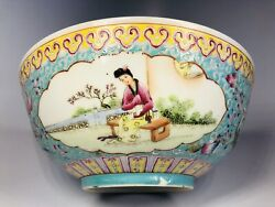 Antique 1920s Chinese Hand-painted Porcelain Bowl 8
