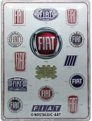 Fiat History In Badges Large Embossed Metal Sign 400mm X 300mm Na