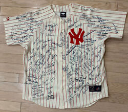 New York Yankees +130 Signatures Hall of Fame Jersey (JSA)