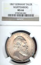 German States Wurttemberg 1867 Taler Coin Ngc Ms 66 Stg/stg Thaler Unc Top Rare