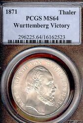 German States Wurttemberg 1871 Taler Coin Pcgs Ms64 F.stg/stg Thaler Unc Victory