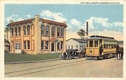 FL - 1910's City Hall and Trolley in South Jacksonville FLA - Duval County