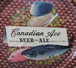 Canadian Ace Beer And Ale Fish Clams Old Ad Tin Card Tip Tray Sign Made In Usa