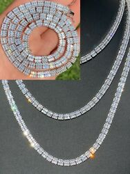 SOLID 925 Sterling Silver Baguette Tennis Chain ICED Diamond Necklace 5mm HipHop $160.64