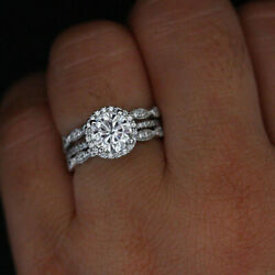950 Platinum 1.15 Ct Round Real Diamond Solitaire Engagement Band Set Size 6 5 7