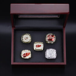 5pcs Detroit Red Wings Stanley Cup Championship Ring Display Set Red Wings Ring