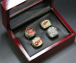 4pcs Detroit Red Wings Stanley Cup Championship Ring Display Set Red Wings Ring