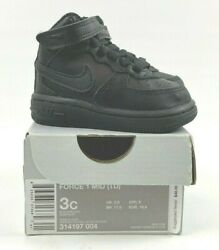 Nike Air Force 1 Mid Black 2016 TD Toddler 314197 004 sz 3C