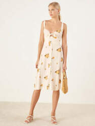 REFORMATION Ivory Floral Print Front Tie Frankfort Cute Midi Sweetheart Dress 8 $91.80