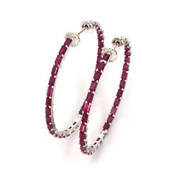 6.6 Ctw Natural Baguette Ruby And Diamond Solid 14k White Gold Hoop Earrings 40 Mm