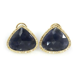 27.4 Ctw Natural Blue No Heat Sapphire Diamond Solid 14k Yellow Gold Earrings 1