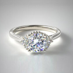 Sale 0.88 Ct Real 18k White Gold Diamond Solitaire Wedding Ring Size 7 6 5 4 8