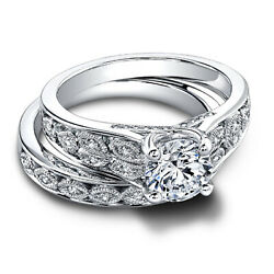 Real Round 950platinum Diamond 1.02 Ct Solitaire Engagement Band Set Size 5 6 7