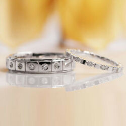 950 Platinum Couples Valentine 0.31 Ct Real Diamond Band Sets All Size Available