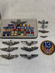 Wwii Us Army Air Force Sterling Silver Wings Group W/ Ribbon Bar And Patch