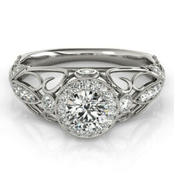 1.00 Ct Real Diamond Solitaire Wedding Rings Solid 14k White Gold Ring Size 6 7