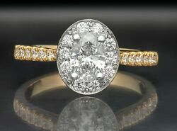 1.10 Ct Oval Cut F Vs1 Diamond Solitaire Engagement Ring 14k White And Yellow Gold