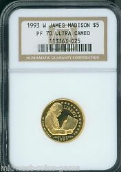 1993-w 5 Gold Commemorative James Madison Bill Of Rights Ngc Pr70 Proof Pf70