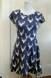 fit and flare dress skater retro vintage deer antler buck print grey and white $15.99