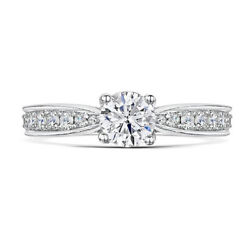 Round Cut 1.05ct Real Diamond Engagement Ring 14k Solid White Gold Size 5 6 7 8
