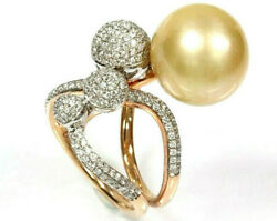 13 Mm Cultured Tahitian Gold Pearl Diamond Solid 14k Yellow Gold Cocktail Ring