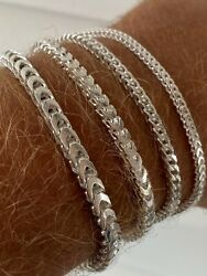Real Solid 925 Sterling Silver Franco Bracelet 2.5-5mm Italy Made Menand039s Pulsera